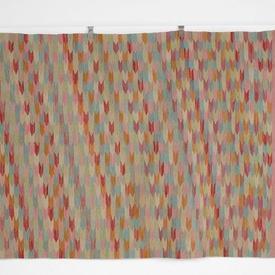 200Cm X 144Cm Multicolour Arrow Patt Pink Edge Fringed Kilim Rug