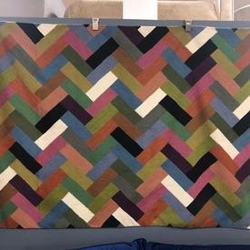 150Cm X 90Cm Muti Colour Zaida Zig Zag Brick Pattern Kashmir Rug
