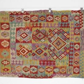 150Cm X 110Cm Multi Colour Odd Pattern Fringed Kilim Rug