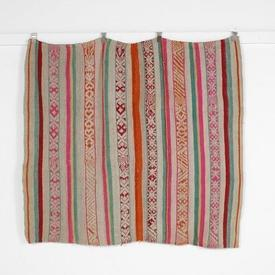 166Cm X 142Cm Beige with Pink Orange Green Patt Stripe Throw Rug