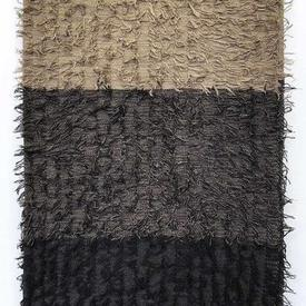 "Throw 72"" x 39"" Charcoal / Sand Stripe Tufted"