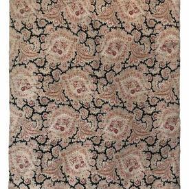 "Quilted Bedcover 7'6"" x 5'10"" Black / Sand/Crimson Faded Floral Paisley"