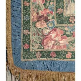 "Four Poster Bed Cover 10' x 9'3"" Bottle / Cerulean Large Floral Linen / Ruched Border"