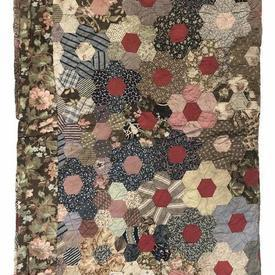 "Patchwork Bedcover 8' x 6'3"" Brown / Navy Small Floral Hexagons Worn Cotton"