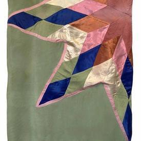 """Bed Cover 8' x 7'6"""" Sea Faded Silk / Satin Star Applique"""