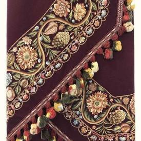 "Hex. Table Cover 6'4"" Burgundy Wool / Fabulous Floral & Vine Crewel / Tassel Fringe"