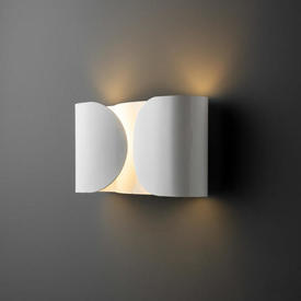 Curved Rectangular White Lacquer ''Foglio'' Wall Light