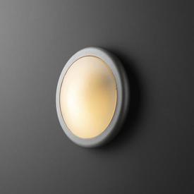 Small Circular Satin Ali & White Plastic Wall Light