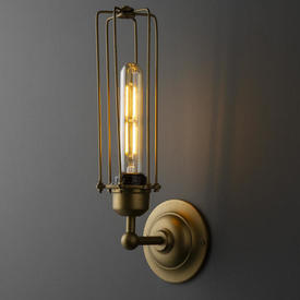 Gold Metal Caged Wall Light