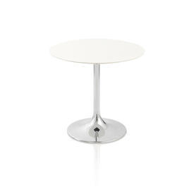 Small Circular White Glossed Table on Chrome Pedestal Base