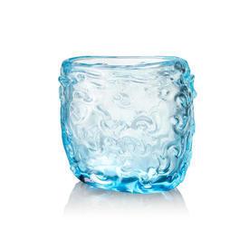 Oval Heavy Turquoise Swirl Embossed Vase