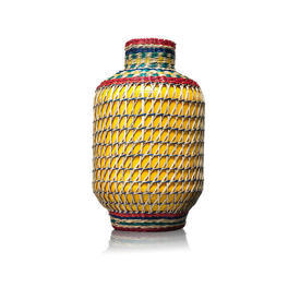 Yellow &  Multicoloured Wicker Decor Vase