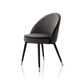 Dark Grey Velvet ''Cooper'' Dining Chair with Black Piping on Black & Gold Legs