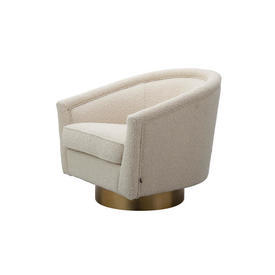 Cream Boucle ''Catene'' Swivel Chair on Brass Base