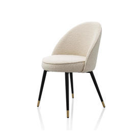 Cream Boucle ''Cooper'' Dining Chair on Black & Gold Legs