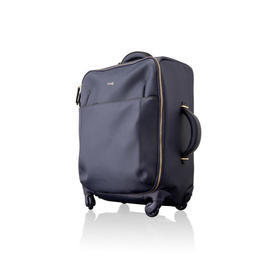 Navy Blue & Black Leather Trolley Case