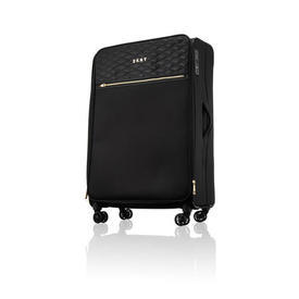 """Large Black Nylon Quilted """"DKNY"""" Trolley Case"""