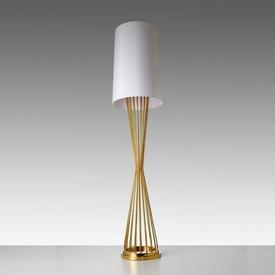 """Brass Wire Waisted """"Holmes"""" Floor Lamp with White Shade"""