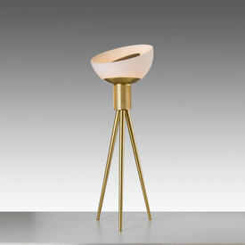 Brass ''Moonraker'' Floor Lamp with Frosted Glass Shade