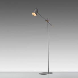 "Matt Grey & Brass ""Bureau"" Floor Lamp"
