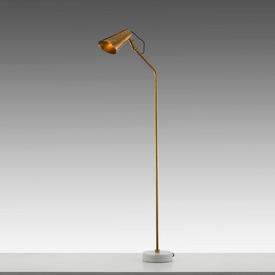 Brass Floor Lamp on Marble Disc Base