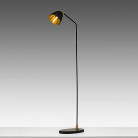 Black & Brass Floor Lamp on Oval Base
