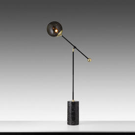 "Black & Gold ""Orbit"" Floor Lamp on Marble Base with Smoked Glass Orb Shade"
