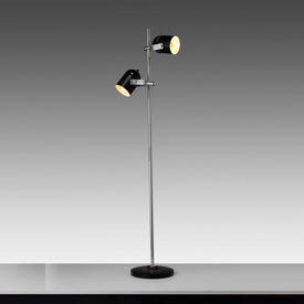 Chrome & Black Twin Spot Retro Floor Lamp