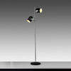 Chrome & Black Twin Spot Retro Floor Lamp