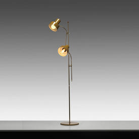 Mustard Retro Twin Spotlight Floor Lamp