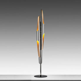 Chrome & Copper Flute Tube Floor Lamp