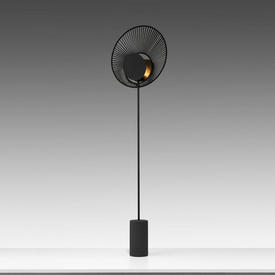 "Black Fan ""Oyster"" Floor Lamp on Tubular Base"