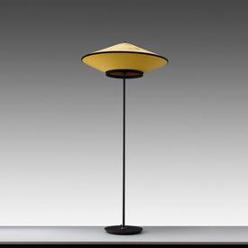 """Black & Ochre Velvet """"Cymbal"""" Floor Lamp"""