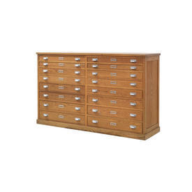 "Oak Wooden ""Riva"" 16 Drawer Plan Chest"