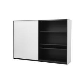 Large Textured Ali & Black Glass ''Teatro'' Cabinet with Sliding Doors
