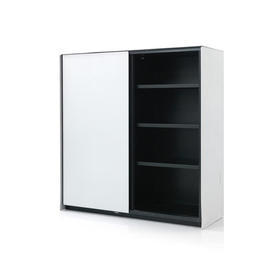 Small Textured Ali & Black Glass ''Teatro'' Cabinet with Sliding Doors