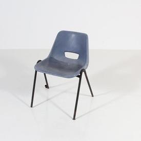 Worn Navy Plastic Black Metal Leg Polyprop Chair