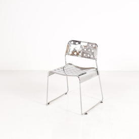 Chrome Perforated Omk Stacking Chair