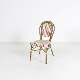Gilt Frame Red/White Patt Seat & Back Cafe Chair