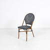 Mock Bamboo Metal Frame Blue Mesh Fabric Cafe Chair