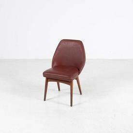 Dark Red Rexine Chair on Dark Wood Legs 'Working Mans' Chair