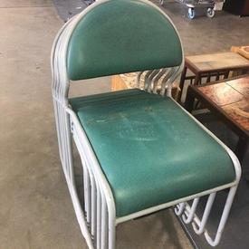 Green Vinyl Seat & Back Grey Tubualr Skid Base Frame Chair
