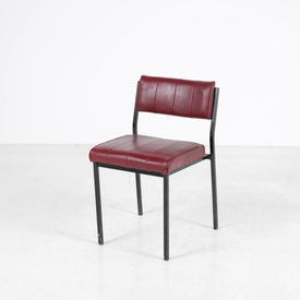Dk Red Vinyl/Black Metal Leg Stacking Chair