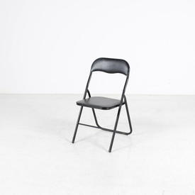 Black Metal Padded Seat & Back Folding Chair
