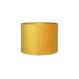 Mustard Velvet Cylinder Drum Shade With Gold inner