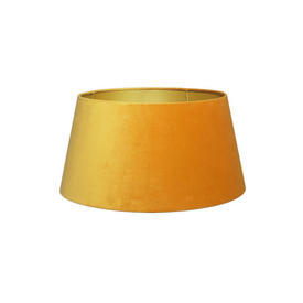 Mustard Velvet Tapered Drum Shade With Gold inner