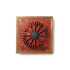Wooden Framed Red Painted Cog Wall Sculpture