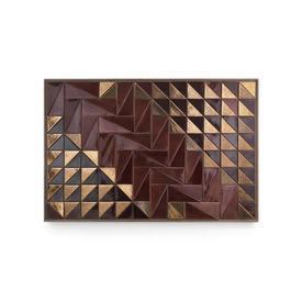 Bronze & Burgundy Wall Tiles in Wooden Frame