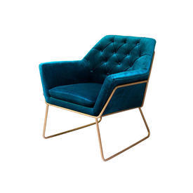 Catania Blue Velvet Buttoned ''Court'' Chair on Brushed Brass Frame