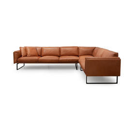 Tan Leather ''Lissoni'' Corner Seating Unit (3 Seater, 2 Seater, Corner Seat)